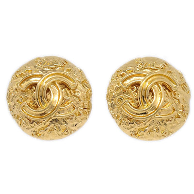 CHANEL Button Earrings Gold 95A