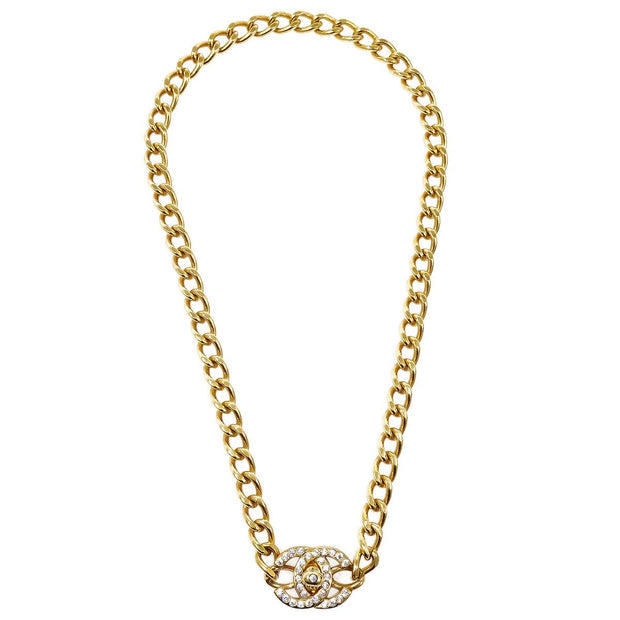 CHANEL 96A Turnlock Rhinestone Gold Chain Pendant Necklace
