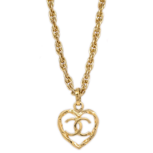 CHANEL Heart Gold Chain Necklace 1982