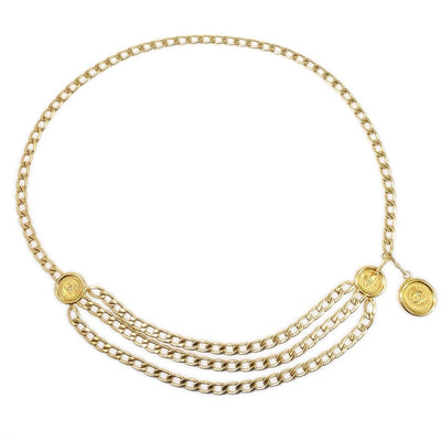 CHANEL Medallion Gold Chain Belt 94P
