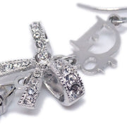 Christian Dior Bow Rhinestone Pierce Silver