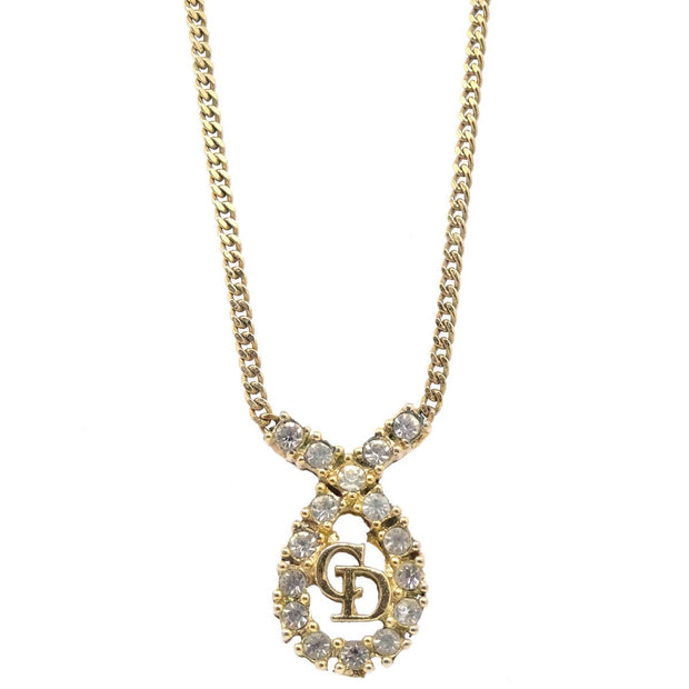 Christian Dior Rhinestone Gold Chain Pendant Necklace