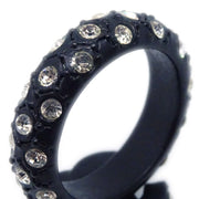 CHANEL Rhinestone Ring Black Size 6.5 02A