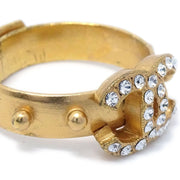 CHANEL Rhinestone Ring Gold Size 5.5 02P