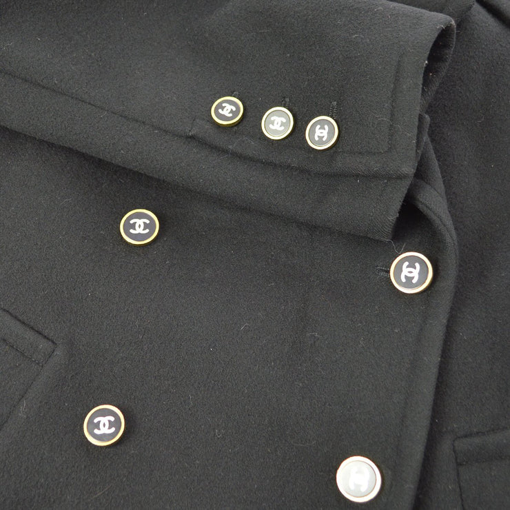 CHANEL 98A #42 Double Breasted Jacket Black