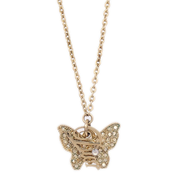 Christian Dior Butterfly Rhinestone Gold Chain Pendant Necklace