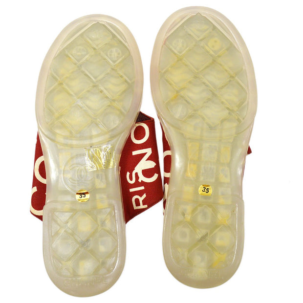 CHANEL Sandals Shoes Red #35
