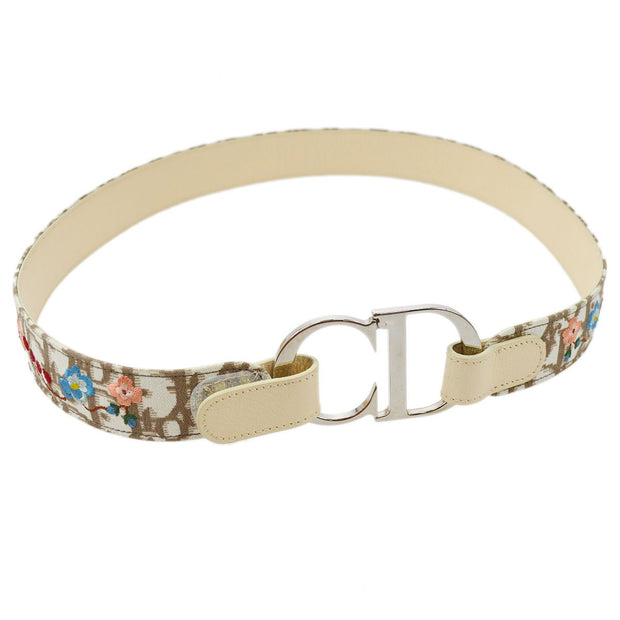 Christian Dior Trotter Pattern Belt Ivory Brown #80 Small Good