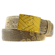 FENDI Belt Ivory Brown Gold Lizard #44 Small Good