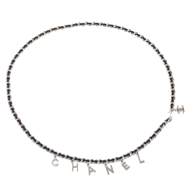 CHANEL Silver Chain Belt Black Small Good