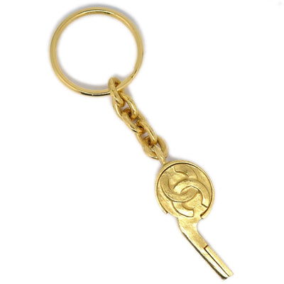 CHANEL Whistle Gold Key Holder 95P Small Good