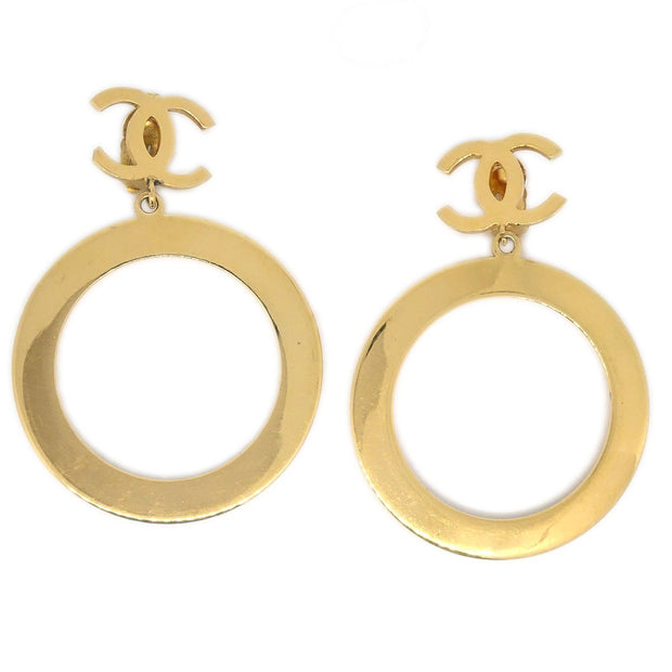 CHANEL Huge Jumbo Big Hoop Shaking Earrings Gold