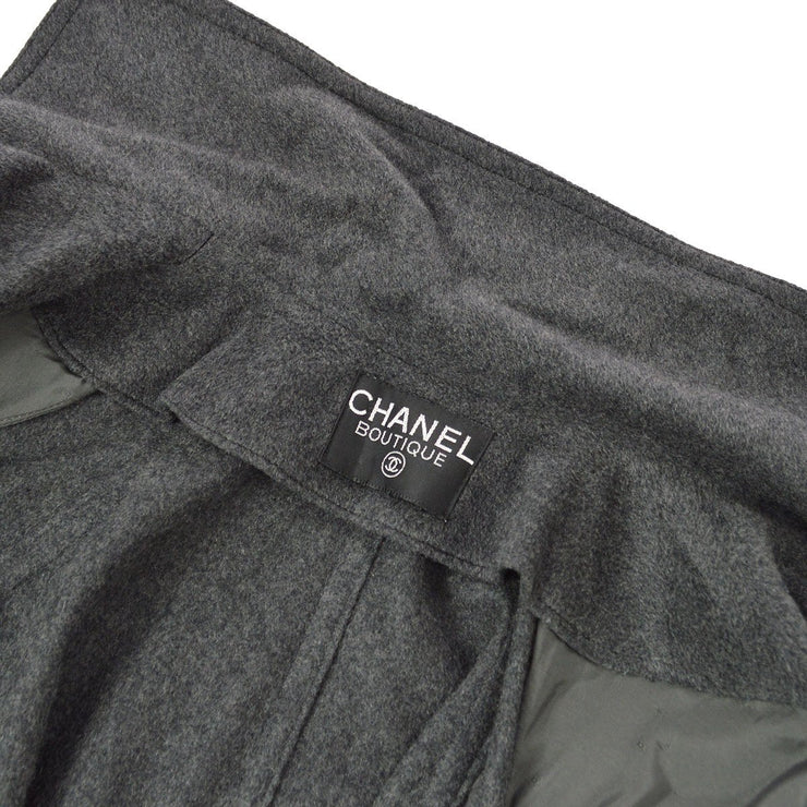 CHANEL Long Coats Jacket Gray