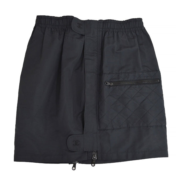 CHANEL #42 Side Zip Up Skirt Black