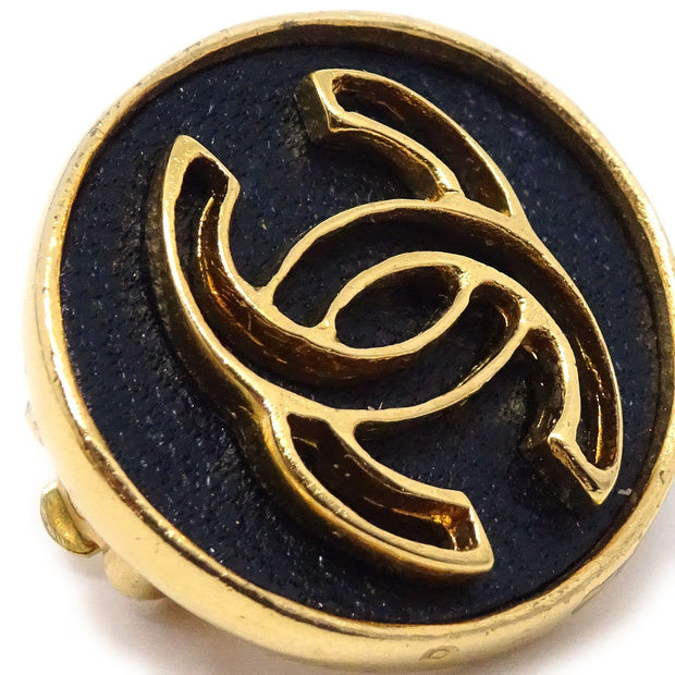 CHANEL Button Earrings Gold Black 03P