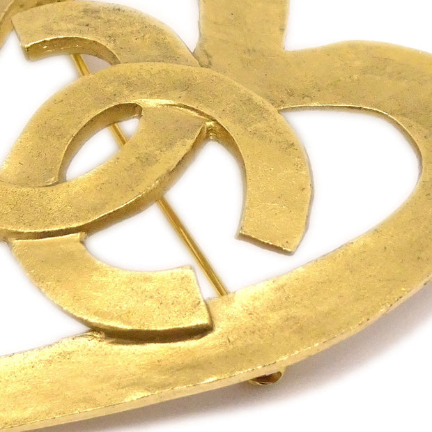 CHANEL Heart Brooch Gold Corsage 95P