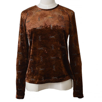 Yves Saint Laurent Long Sleeve Tops Brown #36