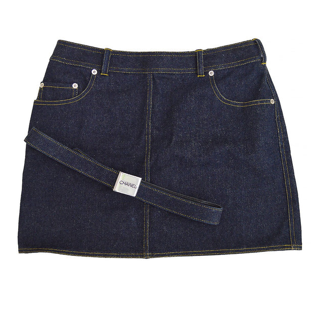 CHANEL #40 Mini Skirt Denim Marine Navy