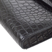 HERMES KELLY CUT Hand Bag So Black Crocodile Alligator