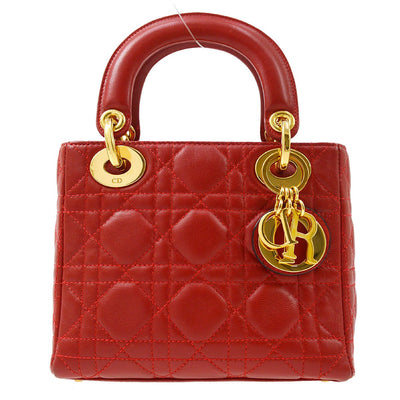 Christian Dior Lady Dior Cannage Mini Hand Bag Red