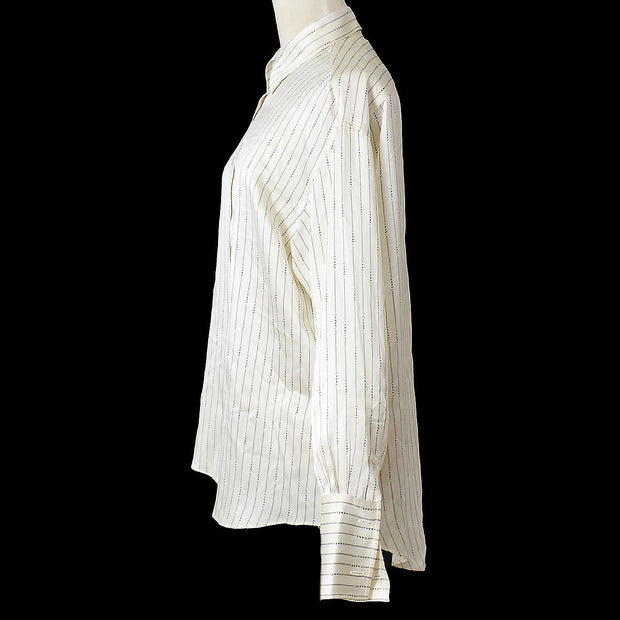 CHANEL 99A #36 Striped Long Sleeve Shirt Blouse Ivory