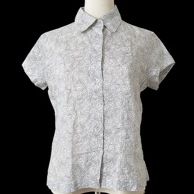 CHANEL 99P #38 Short Sleeve Shirt Blouse Gray