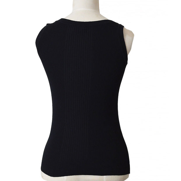 CHANEL 08C #34 Sleeveless Tops Black