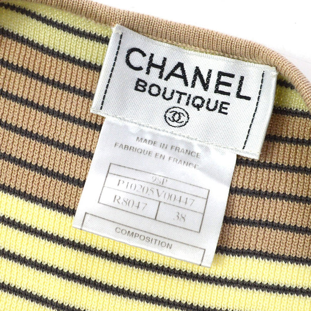 CHANEL 98P #38 Striped Sleeveless Tops Brown