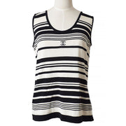 CHANEL 98P #42 Striped Sleeveless Tops Black White