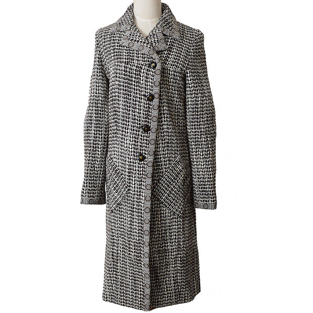CHANEL Tweed Long Coat Jacket Brown White 01A #36