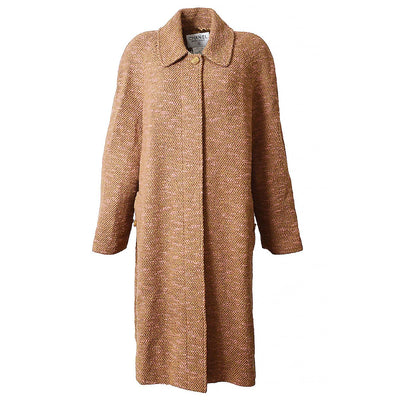 CHANEL Tweed Long Coat Jacket Brown 96A #38