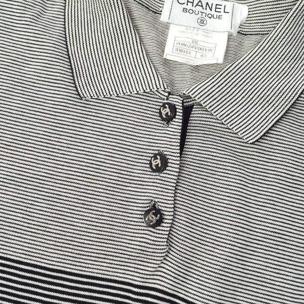 CHANEL 97C #42 Striped T-shirt White Black