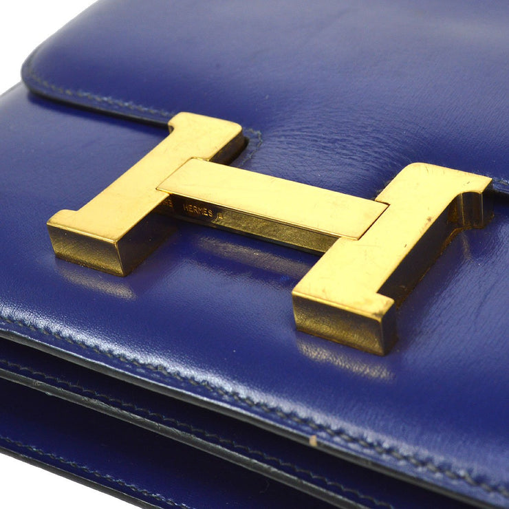 HERMES CONSTANCE 18 Shoulder Bag Blue Box Calf