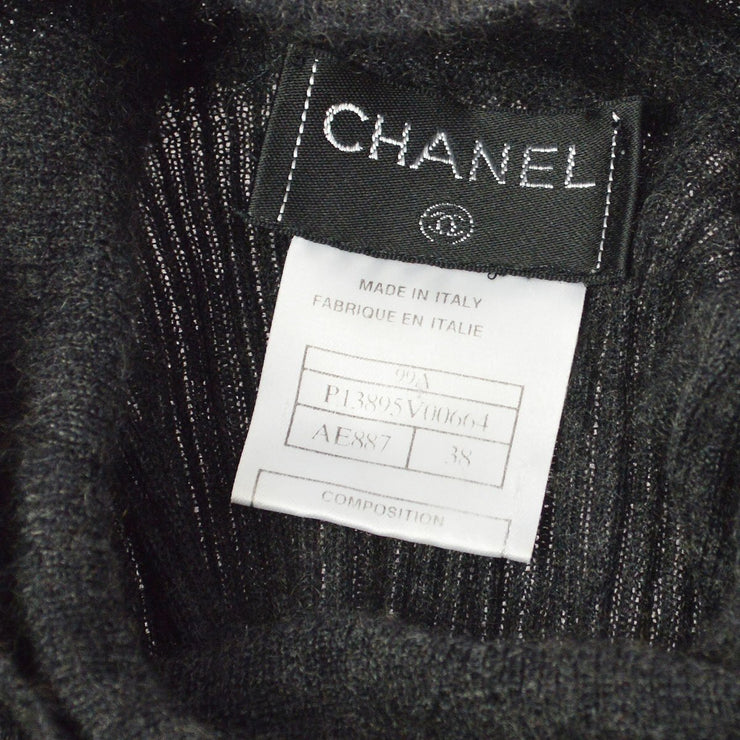CHANEL 99A #38 High Neck Long Sleeve Tops Sweater Gray