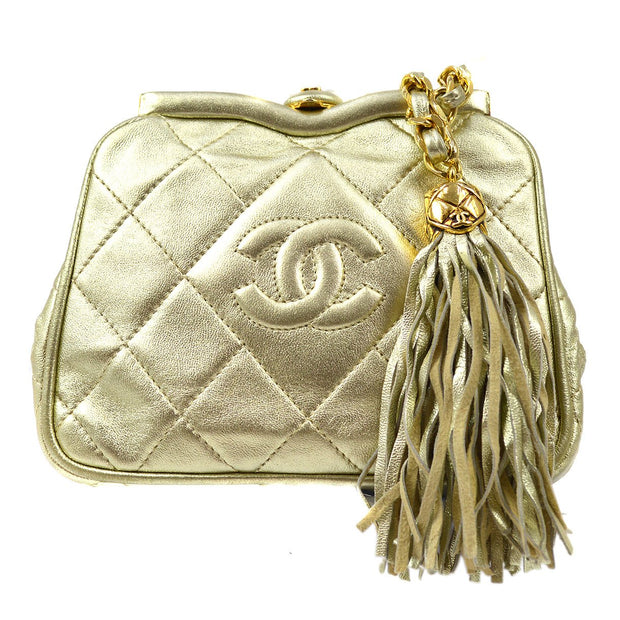 CHANEL Fringe Chain Belt Bag Bum Gold