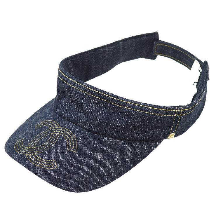 CHANEL Sun Visor Hat Indigo Denim