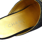 CHANEL Sandals Shoes Indigo Denim #35