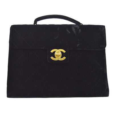 CHANEL Quilted Briefcase Business Hand Bag Balck Velvet