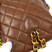CHANEL Duma Quilted Chain Backpack Bag Brown