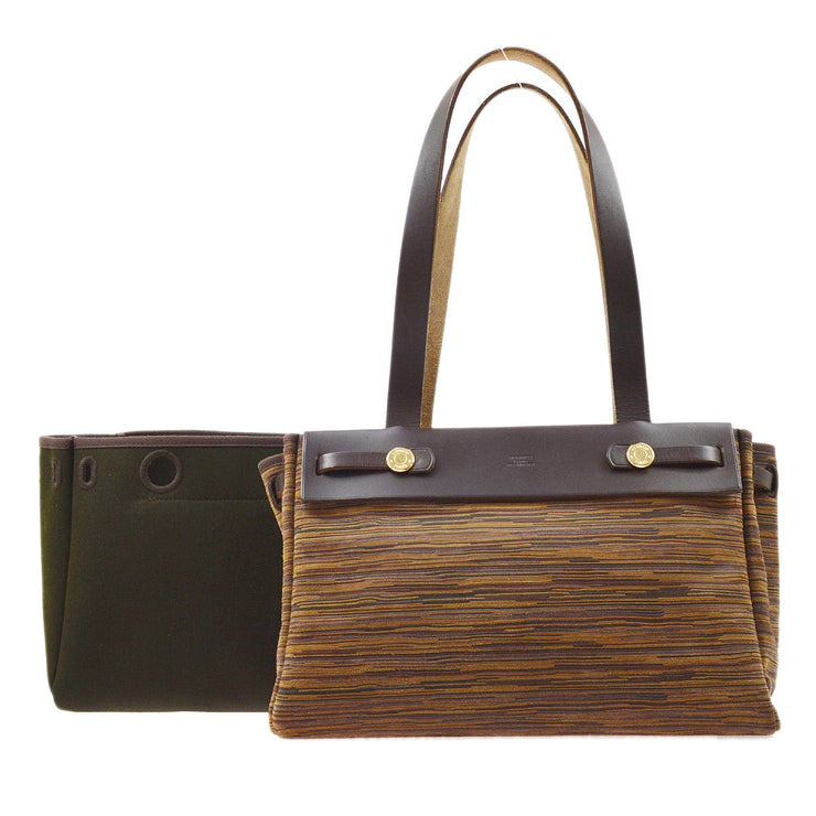 HERMES HerBag Cabas PM 2 in 1 Hand Bag Brown Vibrato Officier