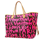 LOUIS VUITTON NEVERFULL GM HAND TOTE BAG FUCHSIA GRAFFITI M93701