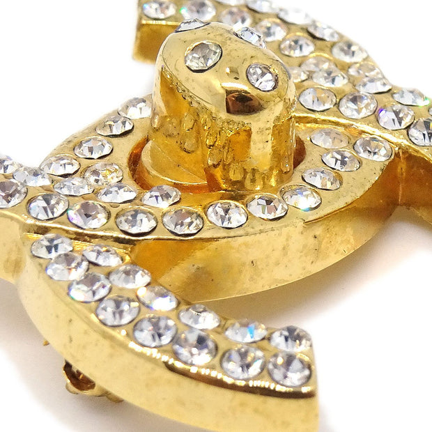 CHANEL Turnlock Rhinestone Brooch Pin Corsage Gold 96A