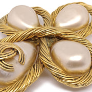 CHANEL Imitation Pearl Brooch Pin Corsage Gold 94A