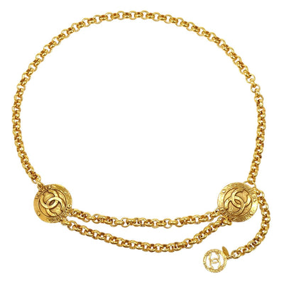 CHANEL Medallion Gold Chain Belt 28/6120 Small Good