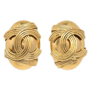 CHANEL Oval Earrings Gold 94A