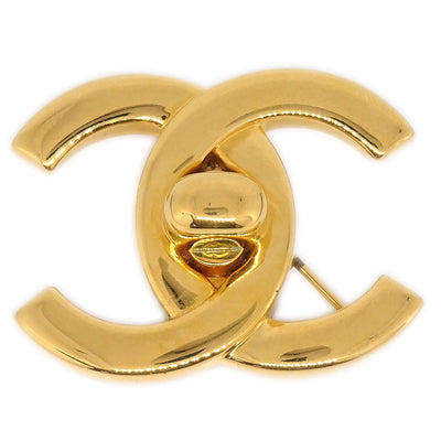 CHANEL Turnlock Brooch Pin Corsage Gold 96P
