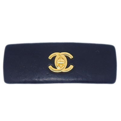 CHANEL Hair Barrette Black Leather 62