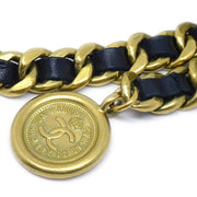 CHANEL Medallion Gold Black Chain Belt Leather 95P