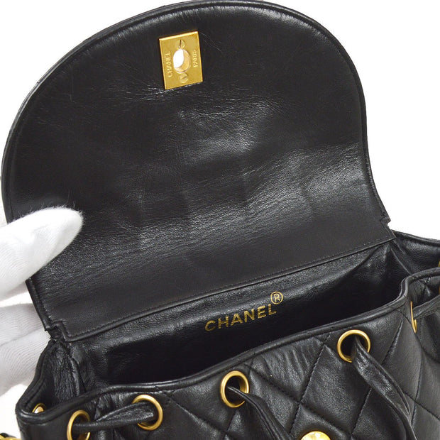 CHANEL Duma Quilted Chain Backpack Bag Black