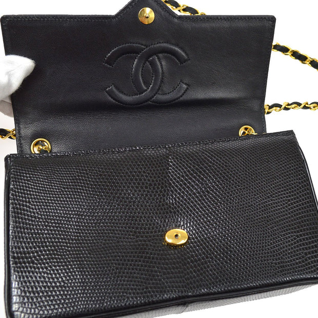 CHANEL Single Chain Shoulder Bag Black Lizard